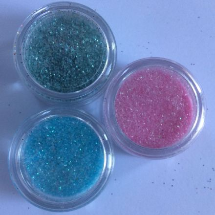 3 x 5g FINE COSMETIC PASTEL GLITTERS  BABY BLUE/BABY PINK/PASTEL GREEN